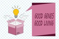 显示好基因好生活的文字笔记 陈列被继承的基因结果的企业照片在长寿健康生活中 库存例证