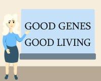 显示好基因好生活的文字笔记 陈列被继承的基因结果的企业照片在长寿健康生活中 向量例证