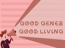 显示好基因好生活的概念性手文字 陈列在长寿健康L的企业照片被继承的基因结果 库存例证