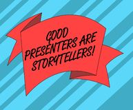 显示好赠送者的文本标志是讲故事者 概念性照片伟大的通信装置讲被折叠的优秀故事 皇族释放例证