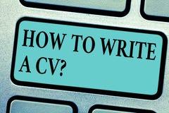 显示如何的概念性手文字写Cv 企业照片陈列的推荐做一份好简历 免版税库存图片