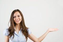 显示妇女年轻人的区空白商业 免版税库存图片