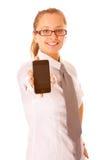显示妇女年轻人的美丽的移动电话 库存图片