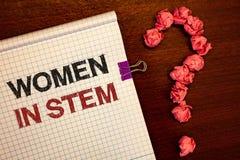 显示妇女的概念性手文字在词根 陈列科学技术工程学数学科学家Res的企业照片 免版税库存照片