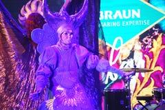 显示威尼斯式狂欢节魔术师魔术师喇曼汤罗宋汤 图库摄影
