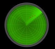 显示威胁的绿色雷达网 免版税库存照片