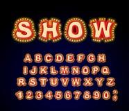 显示字体 辉光灯信件 与灯的减速火箭的字母表 Vint 免版税库存图片