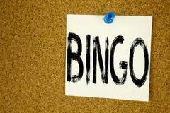 显示宾果游戏的概念性手文字文本说明启发 在的赢取价格成功writt的赌博上写字企业概念 库存照片