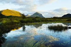 显示山湖和反射的苏格兰风景 免版税库存照片