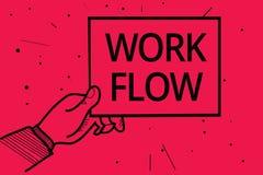 显示工作流程的概念性手文字 企业照片某一任务的文本连续性到/从一个办公室或雇主人的 皇族释放例证