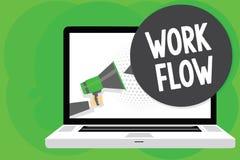 显示工作流程的概念性手文字 企业照片某一任务的文本连续性到/从一个办公室或雇主人的 库存例证