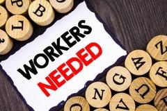 显示工作者的手写的文本标志需要 查寻的企业概念事业资源雇员失业问题命令 库存图片