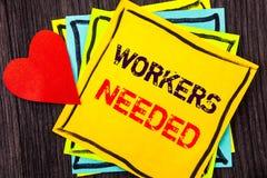 显示工作者的文字文本需要 概念意思查寻事业资源雇员在Stikcy写的失业问题 库存照片