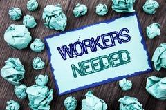 显示工作者的概念性手文字文本需要 概念意思查寻事业资源雇员失业问题wr 免版税库存照片
