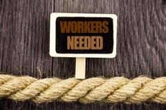 显示工作者的概念性文字文本需要 企业照片陈列的查寻事业资源雇员失业Probl 免版税图库摄影