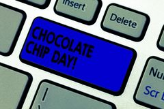 显示巧克力片天的概念性手文字 企业照片享受鲜美位的文本日期在您的choco 库存照片