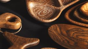 显示年轮 设计委员会由实体木材制成 股票录像