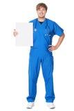 显示广告牌符号的医生/护士 免版税图库摄影