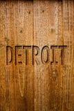 显示底特律的文本标志 概念性照片城市在密执安Motown木想法的消息的美利坚合众国首都 图库摄影