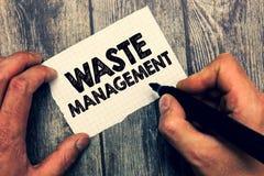 显示废物管理的概念性手文字 需要的企业照片陈列的行动处理垃圾开始对最后的dis 库存图片