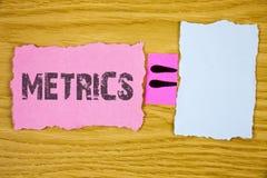 显示度规的文字笔记 企业照片陈列的方法测量某事书面的研究诗米数集 库存照片