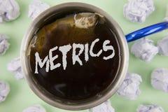 显示度规的文本标志 概念性照片方法测量某事在红茶写研究诗米数集 免版税库存图片