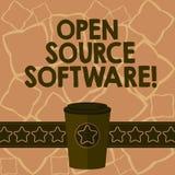 显示开放来源软件的概念性手文字 企业照片与任何人能的原始代码的文本软件 库存例证