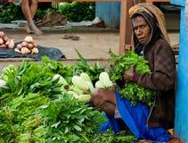显示待售绿色菜在一个地方市场上 库存图片