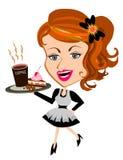 显示微笑的女服务员白人妇女的背景barista咖啡馆咖啡杯重点查出的服务界面 图库摄影