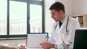 显示心电图的医生对患者在医院 股票录像