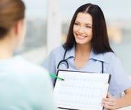显示心电图的女性医生或护士 免版税库存照片