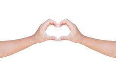 显示心脏形状的手打手势与裁减路线 库存照片