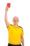 显示您红牌的橄榄球裁判员 免版税库存图片