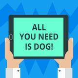 显示您需要的所有的文本标志是狗 概念性照片得到小狗是更加愉快的似犬恋人逗人喜爱的动物胡分析 库存例证