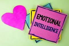 显示情感智力的文字笔记 企业照片陈列的能力控制和知道个人情感命令 免版税库存照片