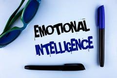 显示情感智力的概念性手文字 企业照片陈列的能力控制和知道个人emo 库存图片