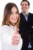 显示成功的thumbsup妇女的商业 库存照片