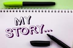 显示我的故事的概念性手文字 企业照片陈列的传记成就个人来历外形股份单wr 库存图片