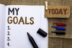 显示我的目标的文本标志 概念性在Notebo写的照片目标目标战略决心事业计划客观目标视觉 库存图片