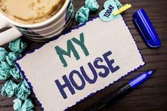 显示我的议院的概念性手文字 企业照片陈列的住房家庭住宅物产家庭新的庄园 库存照片
