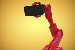 显示手机3d的机器人的综合图象的综合图象 免版税库存图片