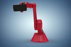 显示手机3d的红色机器人的综合图象的综合图象 免版税库存照片
