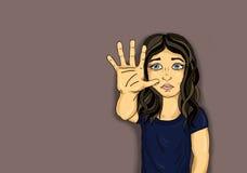 显示手标志足够的恼怒和不快乐的女孩 暴力 库存图片