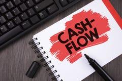 显示收入现款额的文字笔记 陈列金钱的真正运动的企业照片由公司财务处统计命令 图库摄影