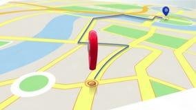 显示方式的红色标志通过迅速移动在地图 库存例证