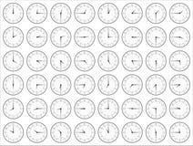 显示时间白色的模式黑色时钟 图库摄影