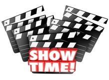 显示时间电影拍板剧院开始演奏影片介绍 免版税库存照片