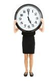 显示时间的妇女 免版税库存图片