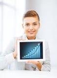 显示有图表的女实业家片剂个人计算机 库存图片