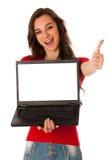 显示有屏幕的美丽的年轻女商人膝上型计算机co的 图库摄影